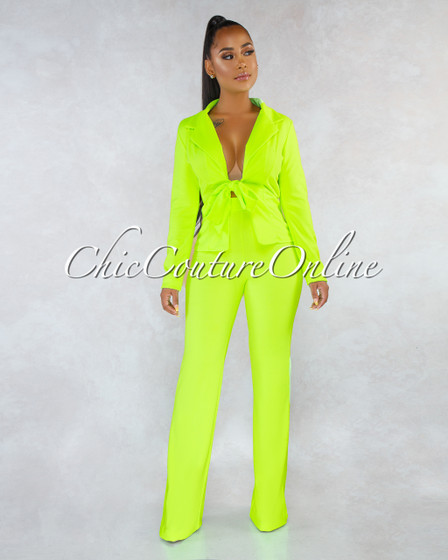 Simie Neon Lime Double Breast Front Tie Two Piece Set