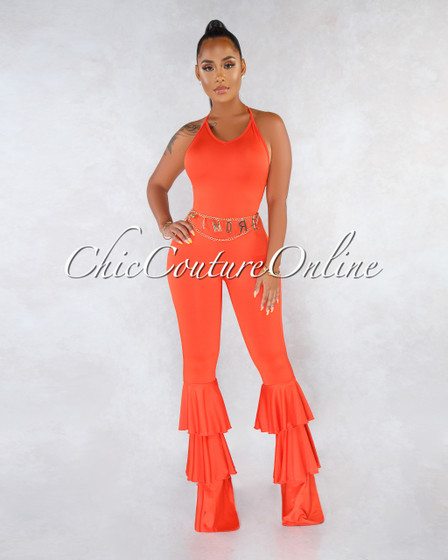 Soledad Orange Ruffle Hem Jumpsuit