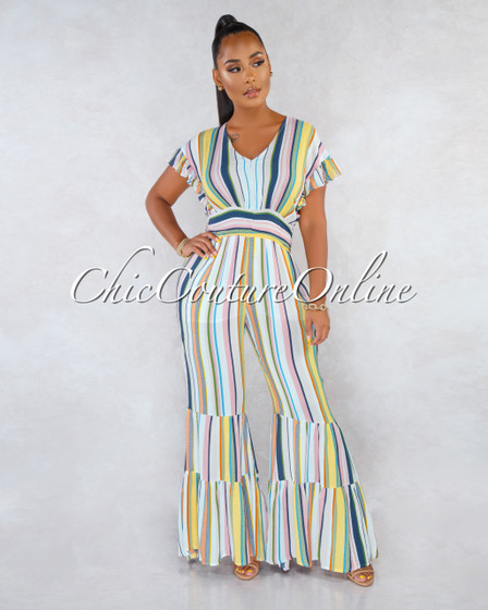 Tamale Multi-Color Stripes Bell Hem Jumpsuit