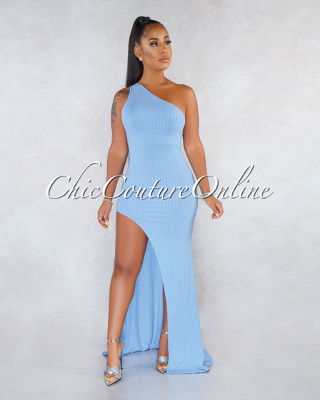 Suleina Baby Blue Single Shoulder Ribbed Maxi Dress