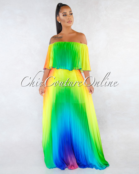 Macarena Green Ombré Pleated Off-The Shoulder Maxi Dress