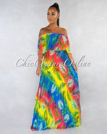 Derby Rainbow Ombré Palm Print Pleated Maxi Dress