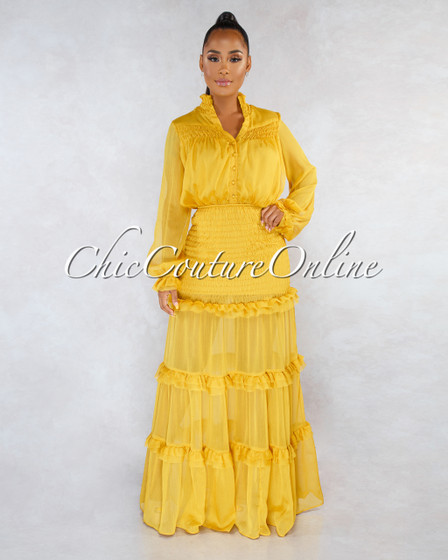 Deidra Mustard Yellow Smocked Ruffle Shift Maxi Dress