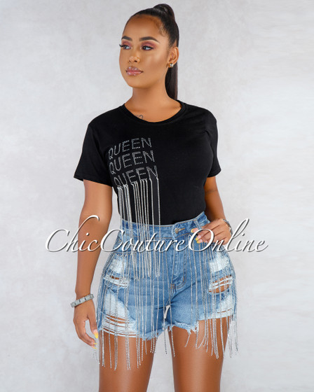 Dahlia Blue Denim Rhinestones Fringe Destroyed Mini Shorts