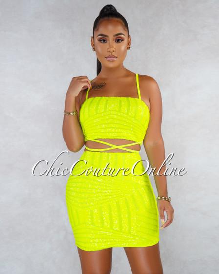 Edina Neon Lime  Mesh Sequins Stripes Two Piece Set
