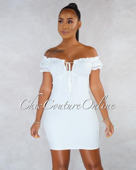 Vianca Off-White Smocked Back Mini Dress