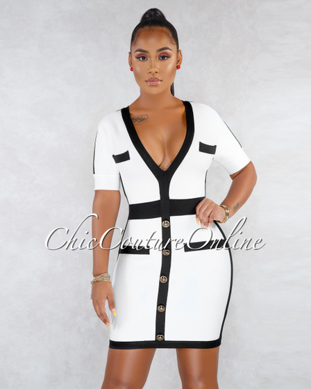 Emaya Off-White Black Trim Bandage Dress