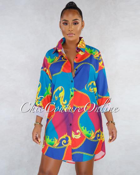 Tropic Teal Red Print Long Sleeves Shirt Dress