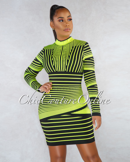 Gillie Black Neon Green Stripes Bandage Dress