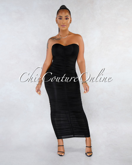 Annick Black Ruched Strapless Midi Dress