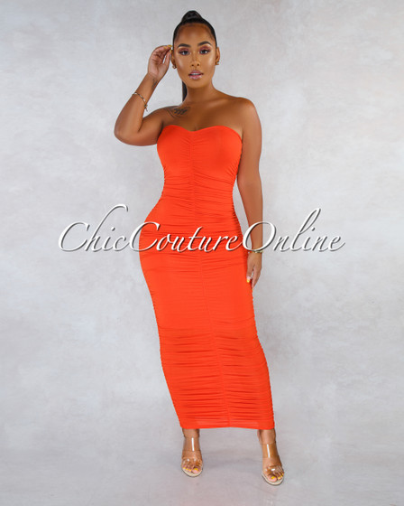 Annick Orange Ruched Strapless Midi Dress