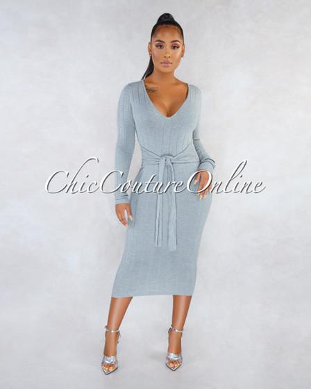 Faria Gray Ribbed Long Sleeves Front Tie Maxi Dress