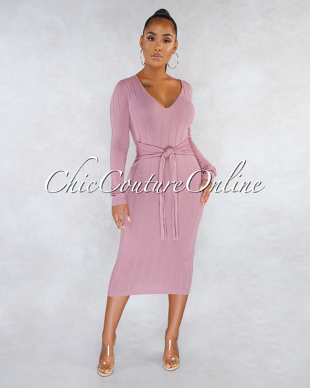 Faria Mauve Ribbed Long Sleeves Front Tie Maxi Dress