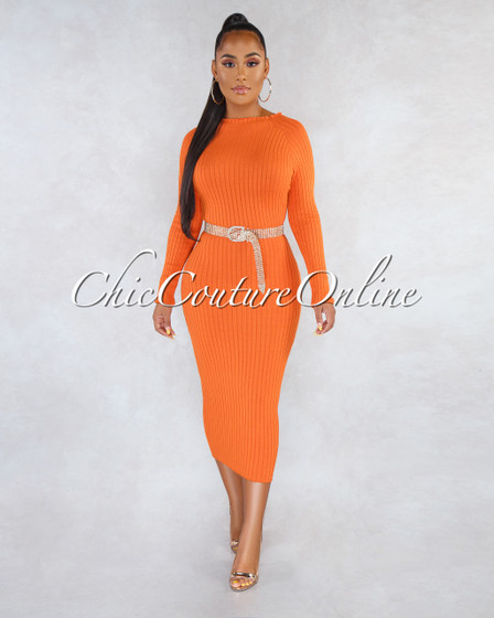 Farah Orange Ribbed Long Sleeves Midi Dress
