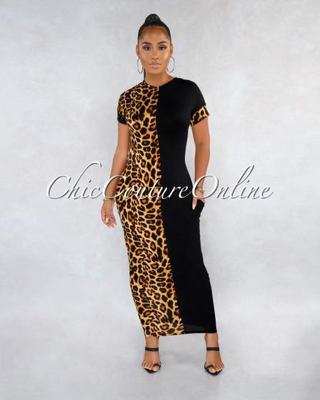 Amour Black Leopard Print Two-Tones Maxi Dress