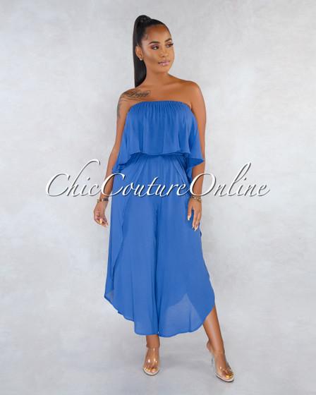 Fadia Steel Blue Ruffle Slit Legs Strapless Jumpsuit