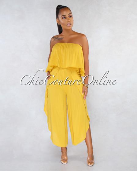 Fadia Mustard Yellow Ruffle Slit Legs Strapless Jumpsuit