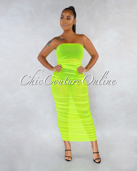 Ezra Neon Lime Ruched Strapless Mesh Sheer Maxi Dress