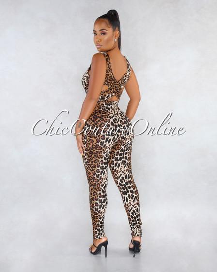 Fabricia Leopard Print Back Tie Detail Jumpsuit