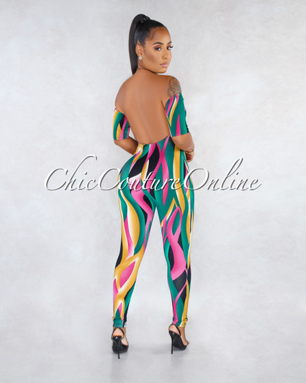 Issa Multi-Color Retro Print Front Tie Jumpsuit