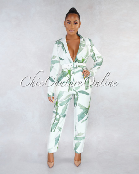 Dabnely Ivory Green Leaf Print Blazer Pants Two Piece Set