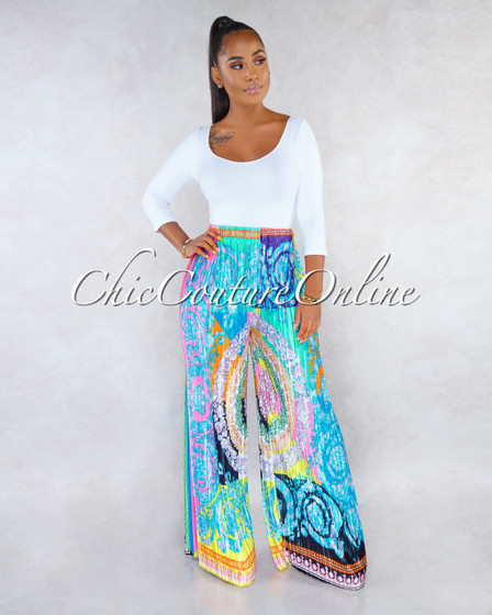 Geneva Multi-Color Print Pleated Wide Legs Satin Pants