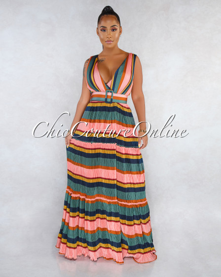 Canaya Salmon Multi-Color Stripes Ribbed Belt Maxi Dress