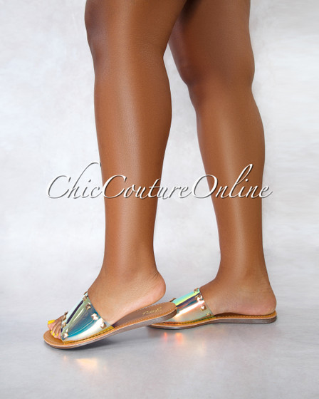 Susy Nude Sole Holographic Upper Studs Slides