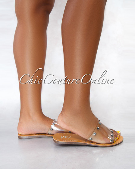 Susy Nude Sole Clear Upper Studs Slides