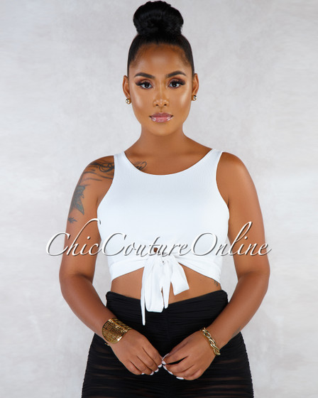 Ciara Off-White Tank Front Tie Ribbed Top