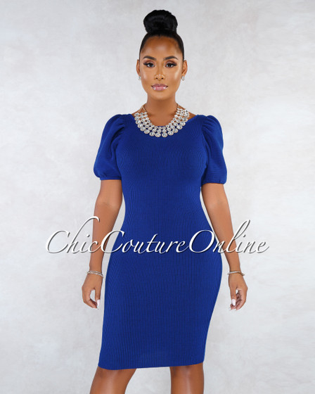 Mirandy Royal Blue Ribbed Puffy Sleeves Open Back Midi Dress
