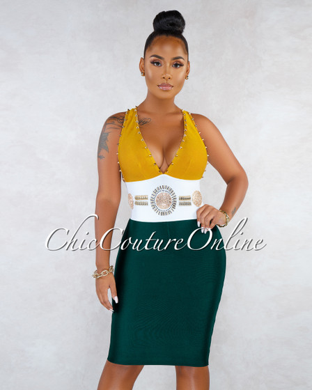 Vergara Mustard Hunter Green Gold Studs Rhinestones Bandage Dress