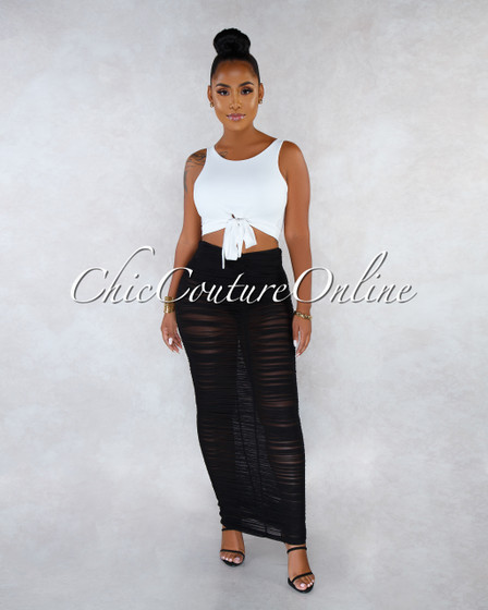 Yuliet Black See-Through Mesh Ruched Maxi Skirt