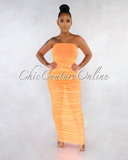 Ezra Neon Orange Ruched Strapless Mesh Sheer Maxi Dress