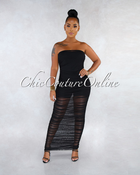 Ezra Black Ruched Strapless Mesh Sheer Maxi Dress