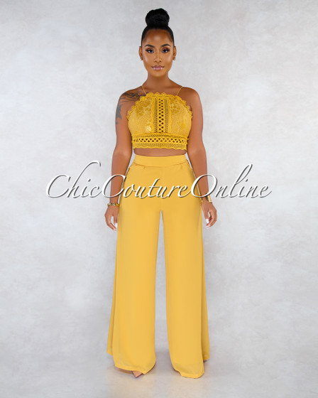 Lidie Mustard Yellow Crochet Top Wide Legs Pants Two Piece Set
