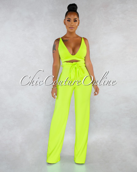 Carlota Neon Lime Paper Bag Pants Two Piece Set
