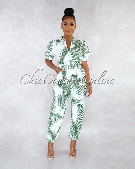 Pilar Off-White Leaf Print Two Piece Jogger Set