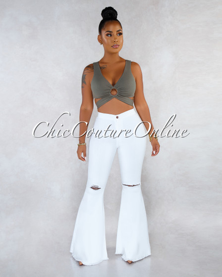 Jewel White Denim High Waist Destroyed Knee Bell Leg Pants