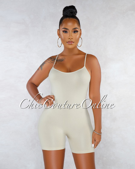Dynamic Beige Seamless Body-Con Romper