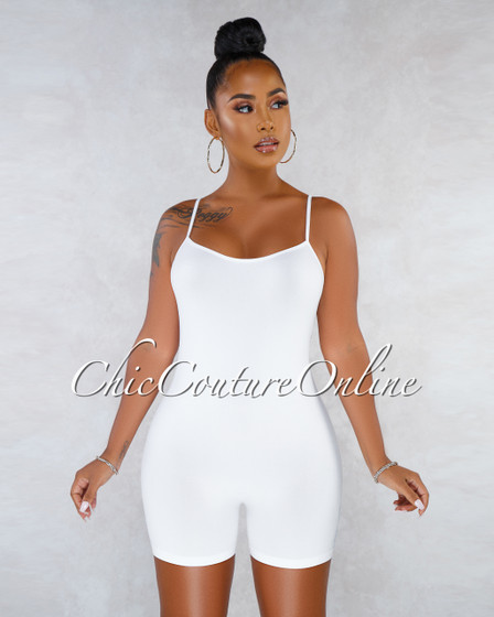 Dynamic White Seamless Body-Con Romper