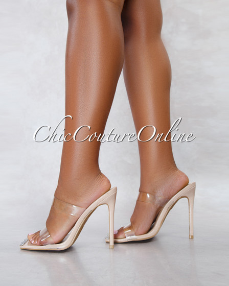 Elegance Nude Sole Clear Double Upper Embelished Toe Heels