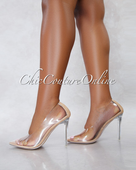 Glass Nude Sole Clear Heel Pumps