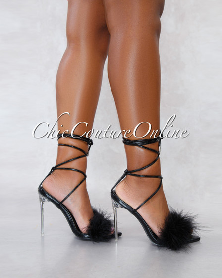Viper Black Faux Leather Lace Up Fury Strap Heels