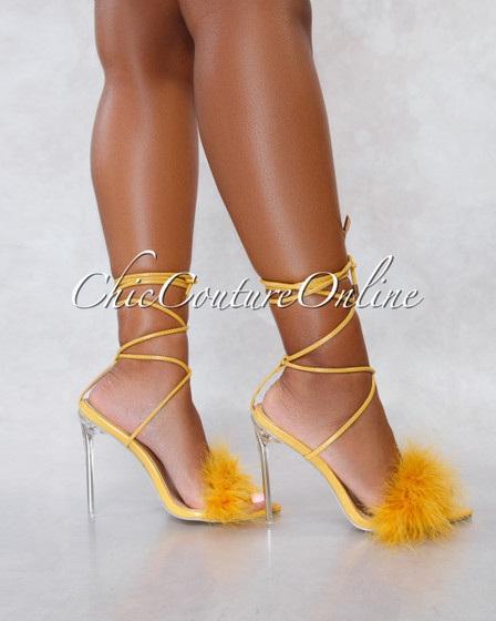 Viper Yellow Faux Leather Lace Up Fury Strap Heels