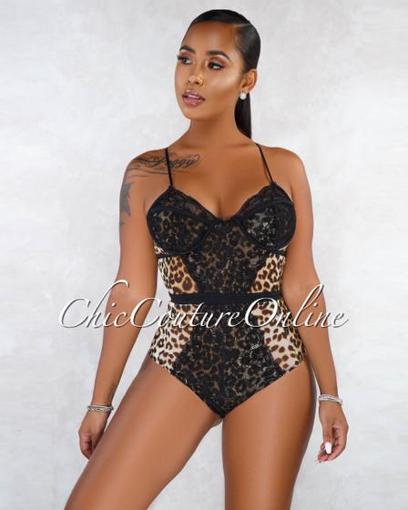 Nikita Leopard Print Mesh Black Lace Sheer Bodysuit