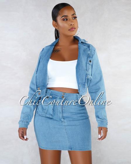 Henrietta Blue Denim Bomber Jacket Skirt Two Piece Set