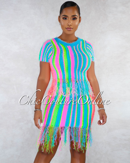 Cirse Multi-Color Neon Stripes Fury Fringe Two Piece Set