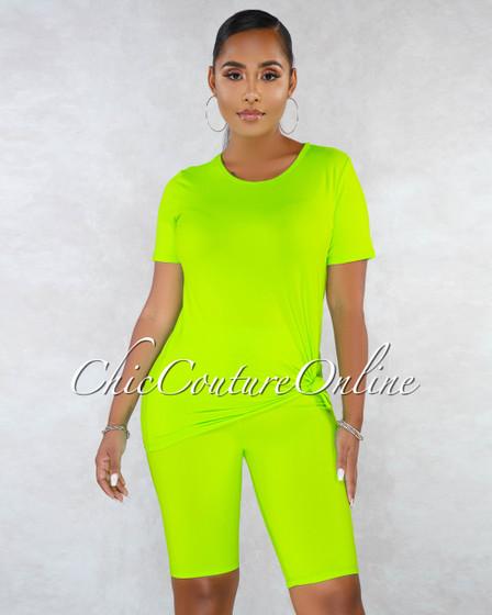Finol Neon Lemon Oversized Shirt Bike Shorts Set