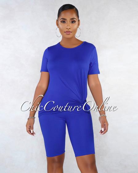 Finol Royal Blue Oversized Shirt Bike Shorts Set